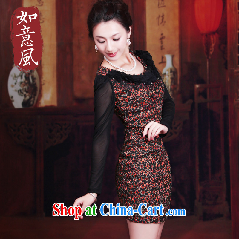 Unwind after the 2014 spring loaded new women dress retro long-sleeved improved stylish lace cheongsam dress 3071 3071 orange XL