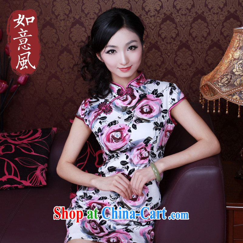 Unwind after the 2014 female summer improved stylish roses stretch cotton short daily classic cheongsam dress 0201 0201 fancy XXL