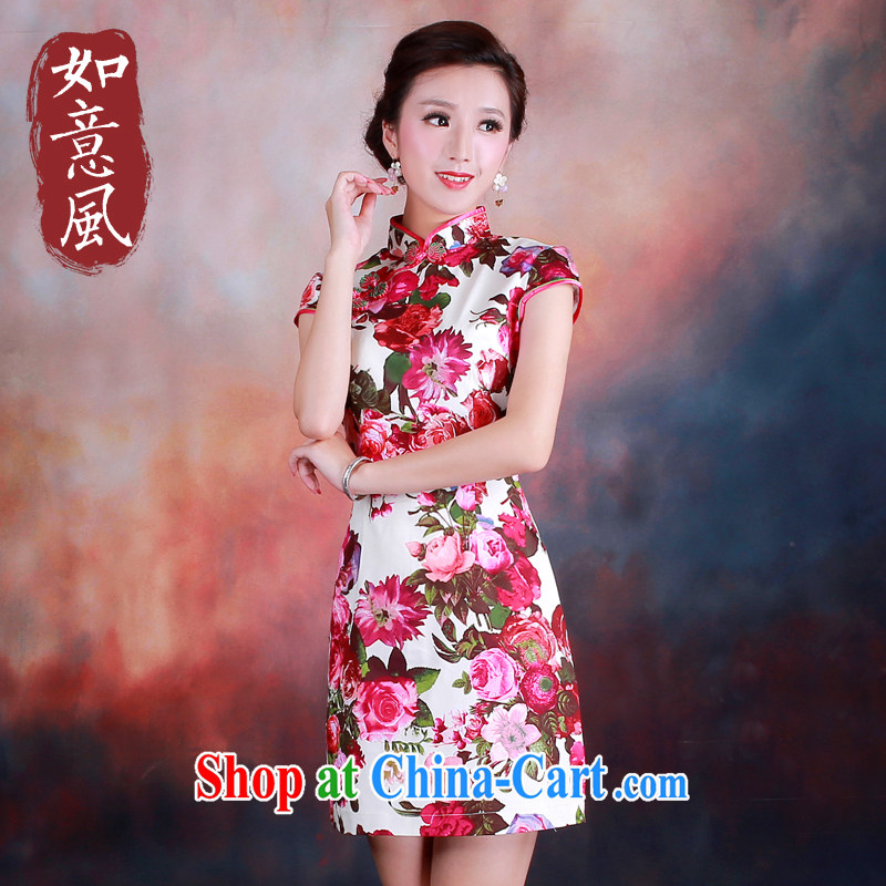 ruyi, 2014 new spring and summer stylish improved cheongsam Leisure Suit short-sleeved dresses 4002 4002 fancy XL