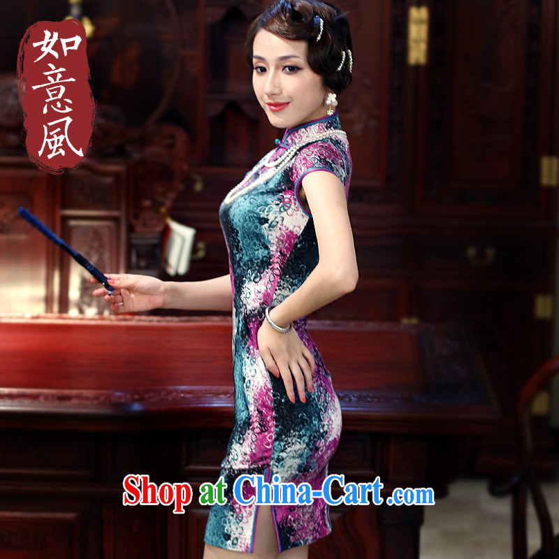 Wind sporting new, summer 2015 improved cheongsam dress stylish stamp duty cotton daily cheongsam dress 3016 3016 fancy XXL