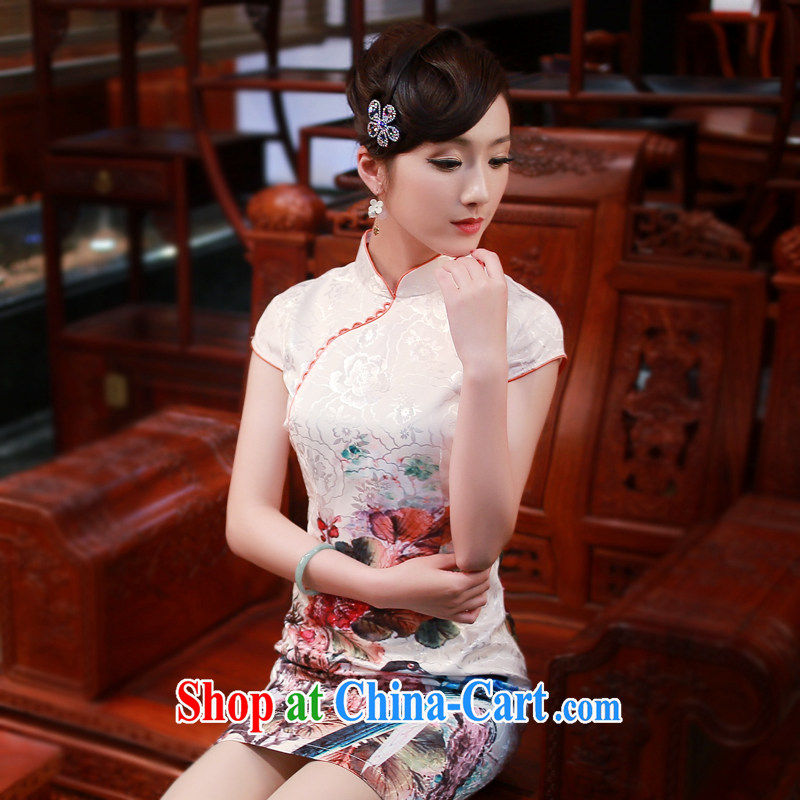 Ruyi style in a new, genuine 2015 summer high-end goods such as stamp duty and stylish retro cheongsam dress 4337 4337 fancy XXL
