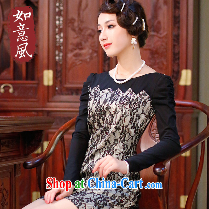 Wind sporting fall 2014 with improved cheongsam dress long-sleeved lace Beauty Fashion cheongsam dress 3067 3067 beige XXL