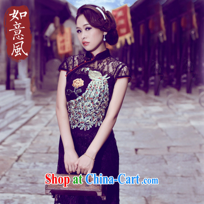 The Ruyi wind -- 2015 new summer imported Lace Embroidery improved retro style banquet dresses 0248 0248 black XXL