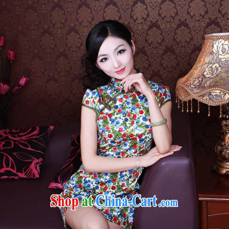 The Ruyi wind -- China wind antique dresses improved stylish summer quality female cheongsam dress 0013 0013 fancy L