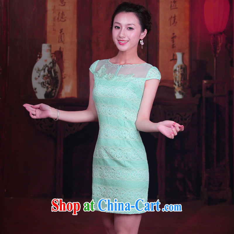 Unwind after the new 2015 summer wear cheongsam dress stylish short daily retro cheongsam dress 4505 4505 green XXL
