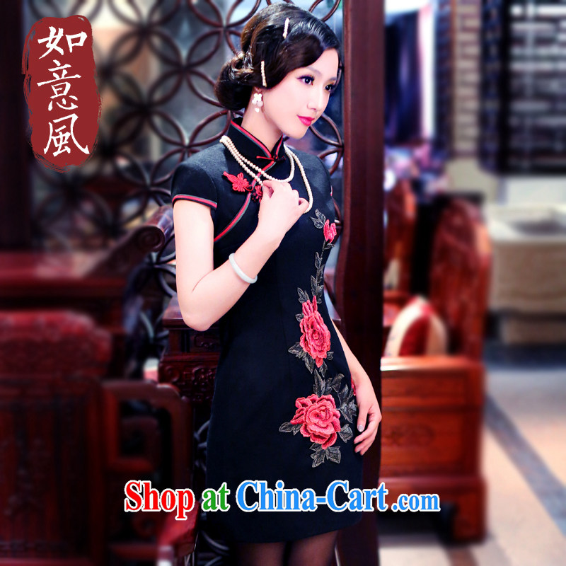 Unwind after the 2015 Autumn and Winter load new Peony retro style thick, short cheongsam dress 3060 3060 black XL