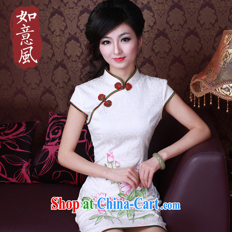Unwind after the 2015 original qipao improved stylish summer new hand-painted antique Chinese qipao dress 2165 2165 white XXL