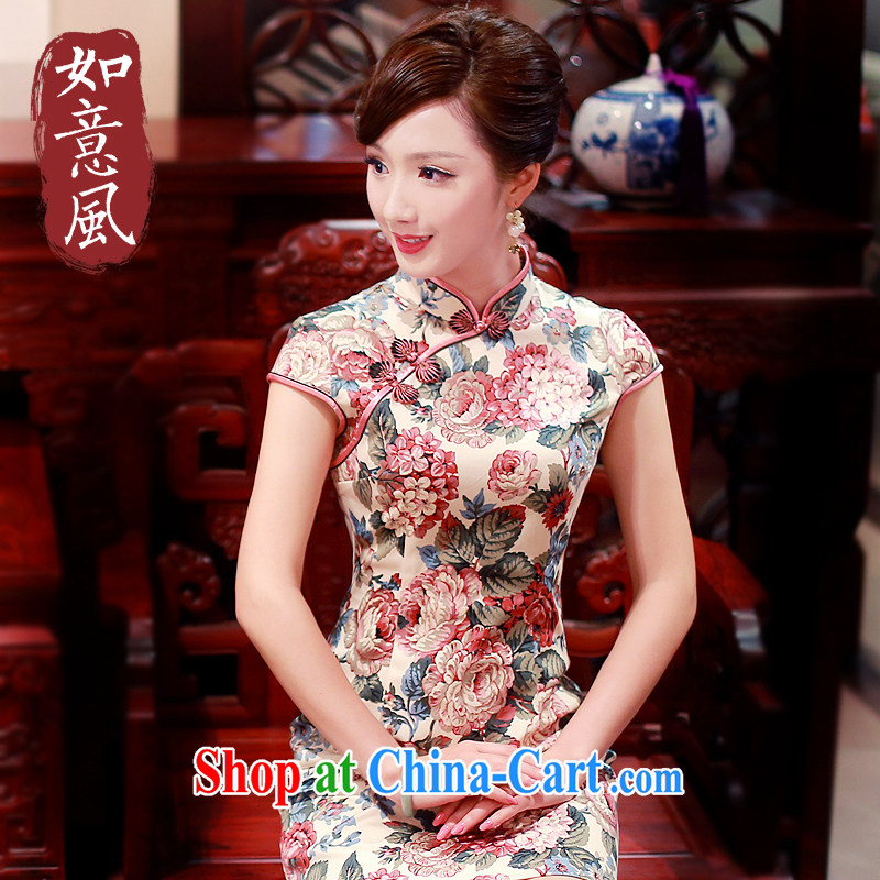 Unwind after the Peony 2015 spring and summer with new Stylish retro improved daily short-sleeved qipao dresses 4008 4008 beige XL