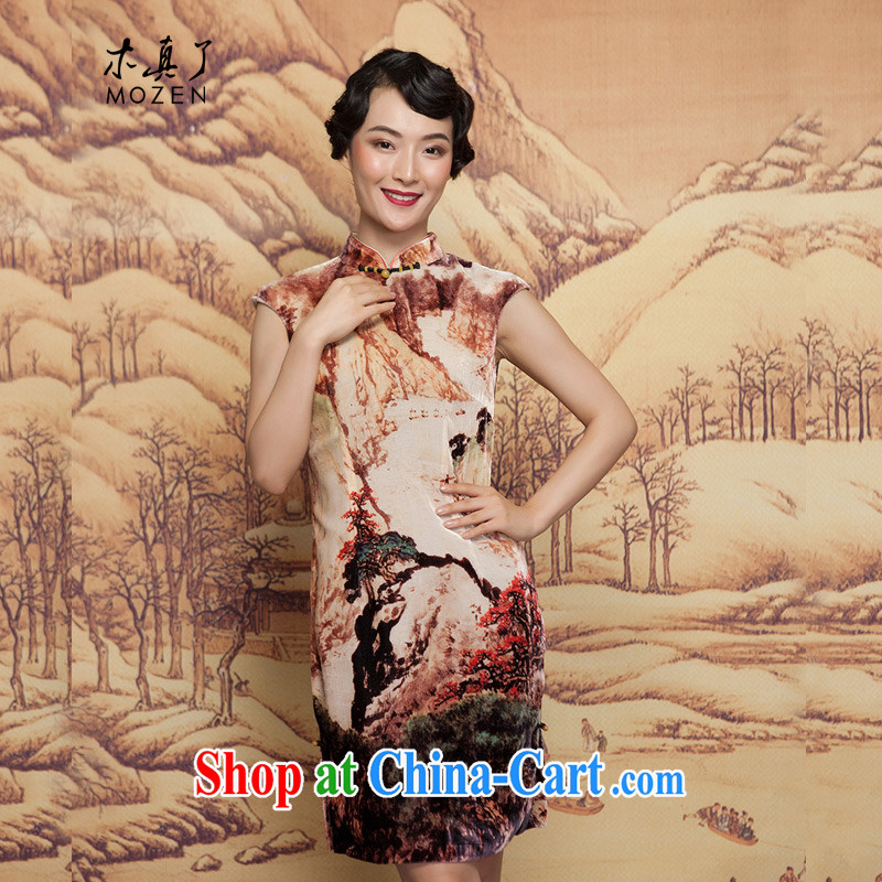 Winter dresses wood is really the 2015 New Water ink painting wool beauty short cheongsam 21,882 09 coffee-colored XXXL