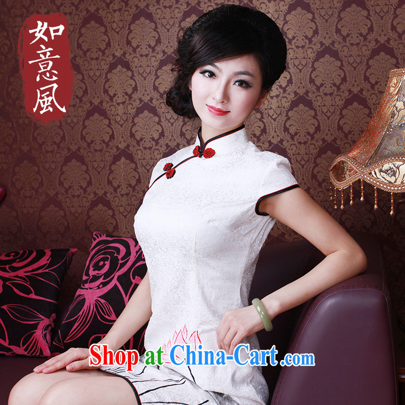 The Ruyi wind -- Summer 2015 new retro improved hand-painted water the wind every day I should be grateful if you outfit 2163 2163 white S
