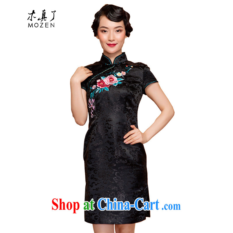 Wood is really the 2015 spring and summer new embroidered beauty short winter cheongsam dress 22,131 01 black XXL B _ _