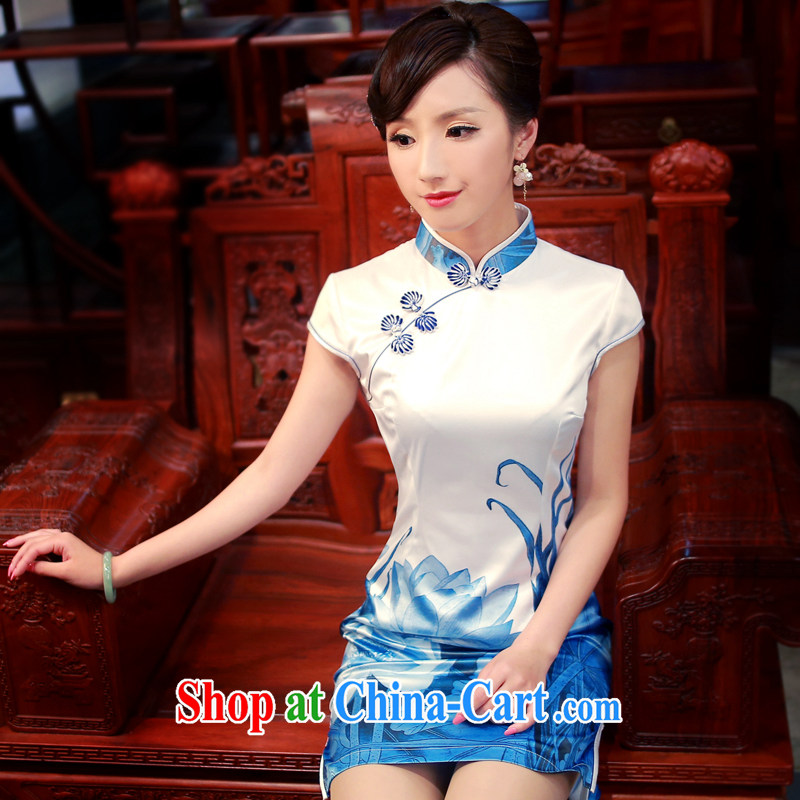 ruyi, 2015 new spring and summer stylish and improved water and ink stamp Leisure Suit short-sleeved dresses 4016 4016 white XL