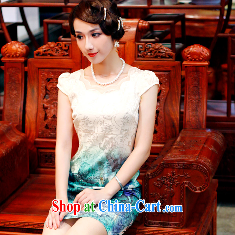 Unwind after the 2015 new, Mr Ronald ARCULLI, upscale cheongsam dress retro daily improved dress cheongsam dress 4504 4504 yellow L