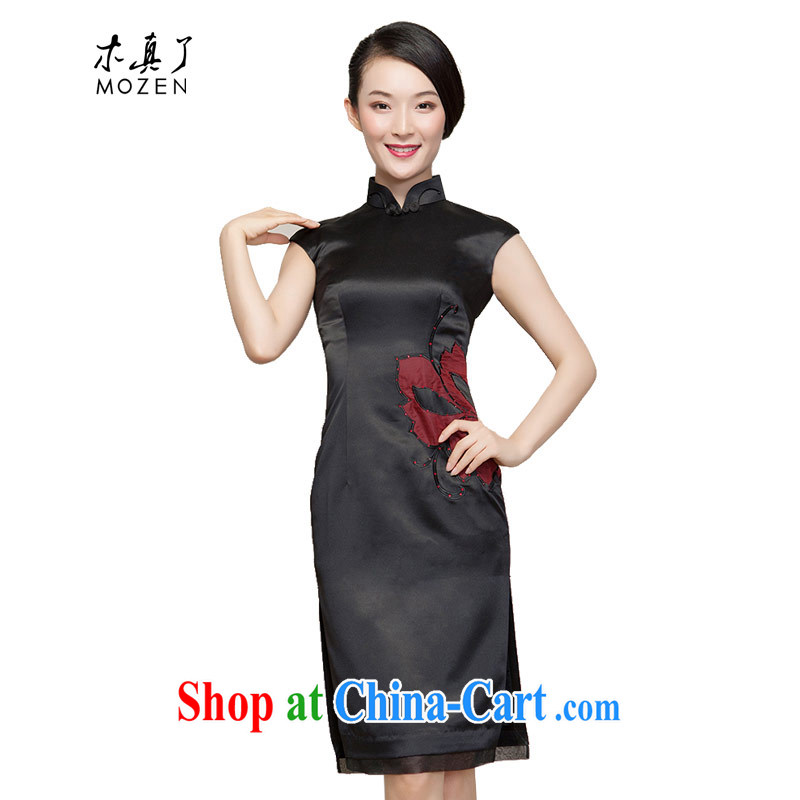 Wood is really the 2015 spring and summer new dresses waist embroidered subsidize the spell yarn short cheongsam 80,537 01 black L
