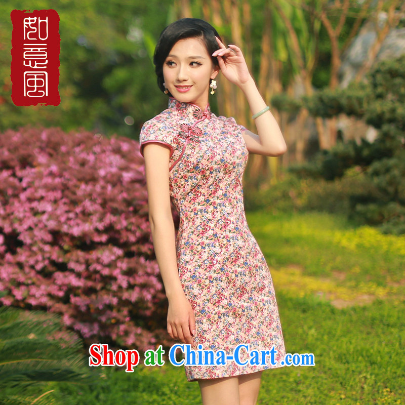 Unwind after the new 2015 summer wear cheongsam dress stylish stamp duty cotton daily retro cheongsam dress 4325 4325 fancy XXL