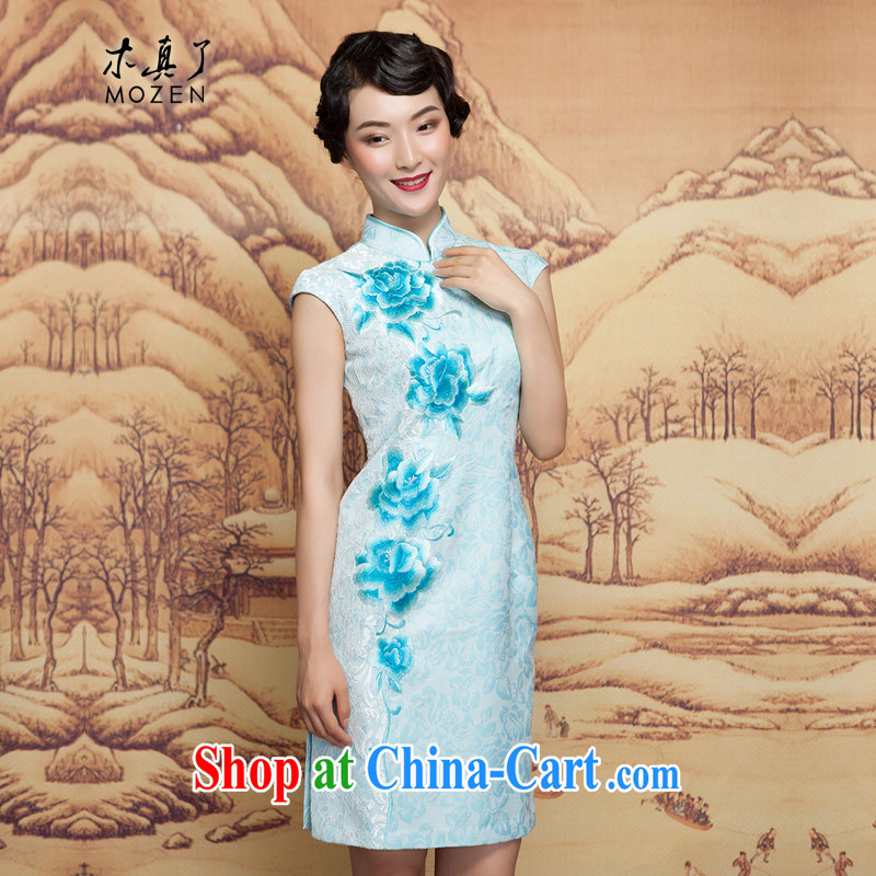 Wood is really the 2015 spring new short winter cheongsam dress 32,392 11 light blue XXL