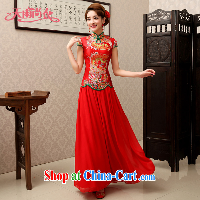 Rain is still clothing bridal wedding dresses wedding dress toast clothing red improved in long sleeves, Chinese qipao QP 489 red short-sleeved L