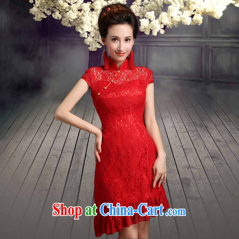 Qi wei served toast summer 2015 new small dress Korean red short retro dresses lace beauty wedding dresses Princess package shoulder bridal back doors ceremony cheongsam red custom does not return to the _30