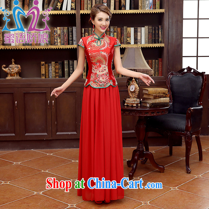 Honey, bride red bridal cheongsam dress long dress uniform toast the code graphics thin improved red replace the doors dress red XXL