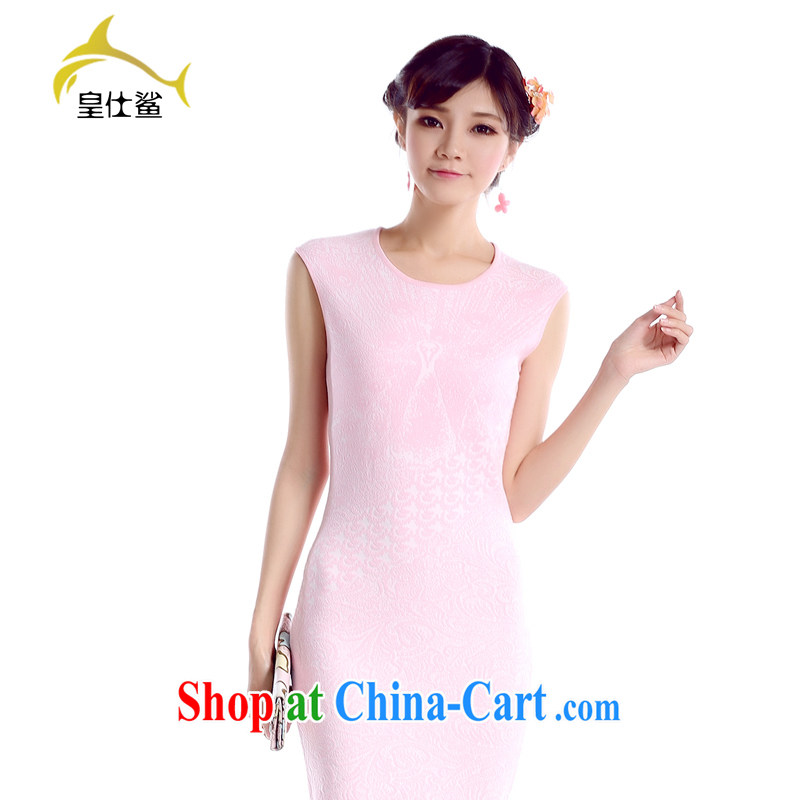 Wong Sze-shark 2014 summer new round-collar sleeveless short retro knitted dresses OL cultivating graphics thin dresses H 255 pink M