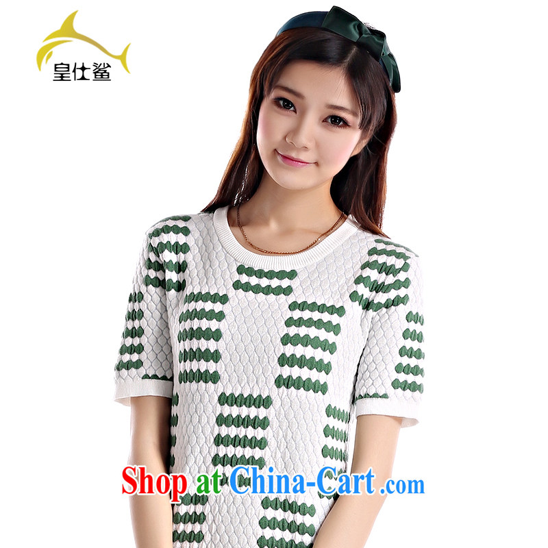 Wong Sze-sharks Korean version 2014 summer, cotton knitted fabric has been relaxed and dress clothes W 353 Drift-green-white M