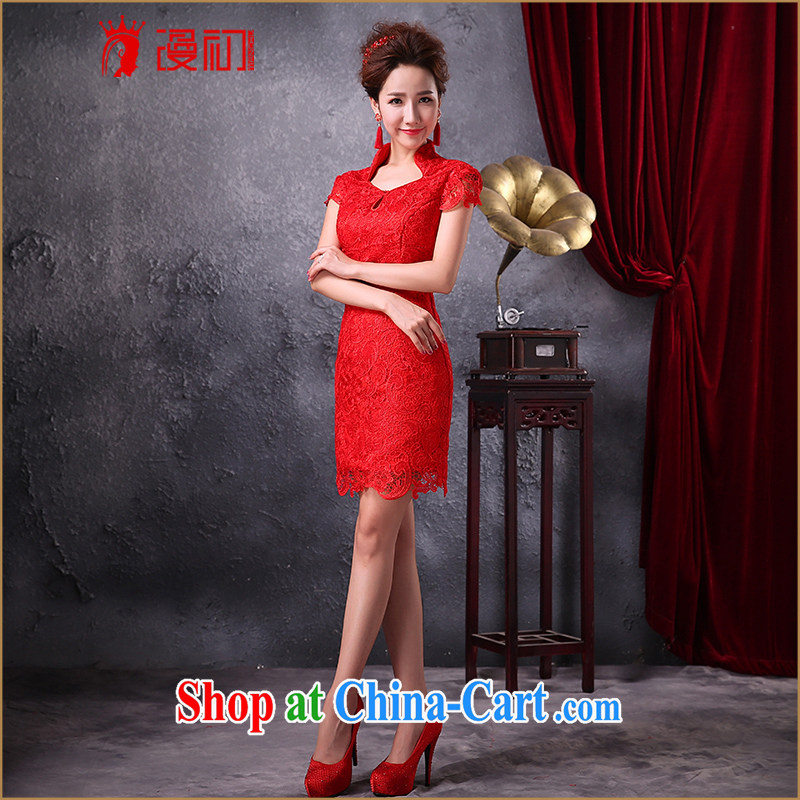 Spread toast early Service Bridal Fashion 2015 new dresses lace improved stylish beauty short wedding dress red XXL