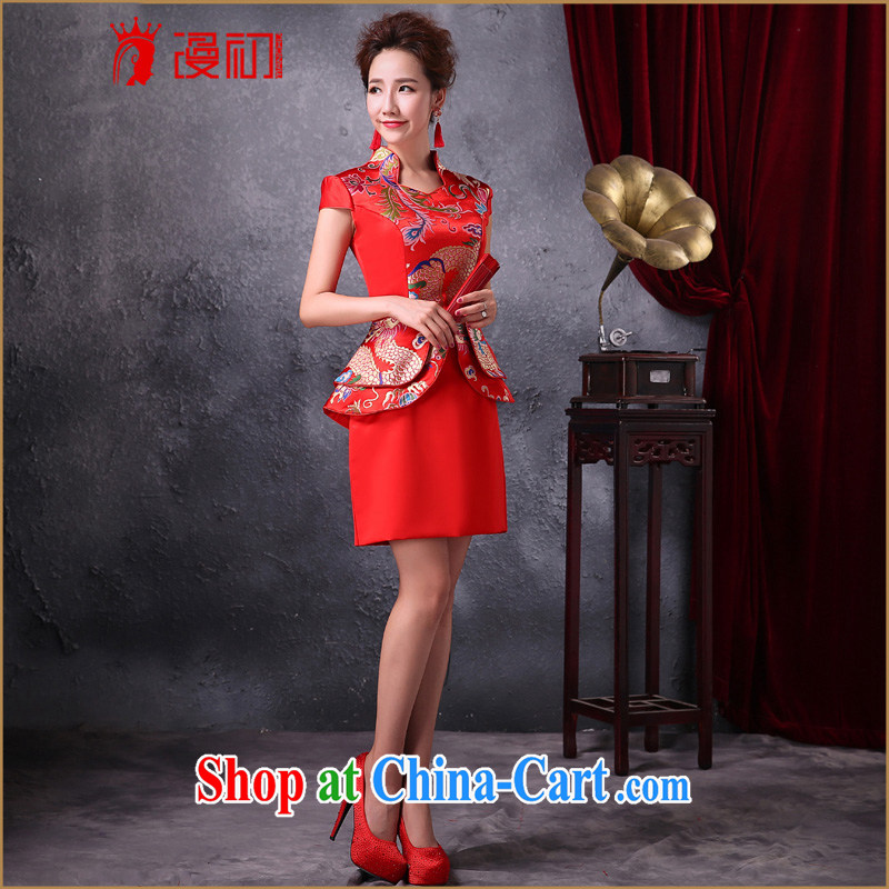 Early definition 2015 new improved cheongsam red bridal toast clothing retro fashion style dress uniforms female Red XXL