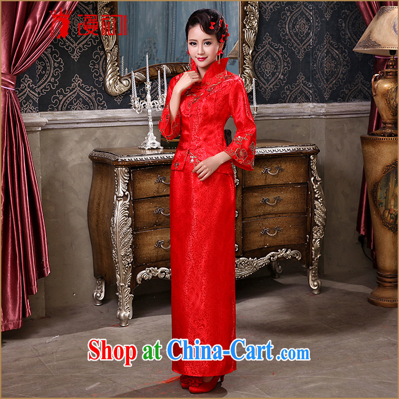 Definition 2015 early marriages served toast red long-sleeved improved Chinese antique dresses ceremonial performances serving female Red XXL