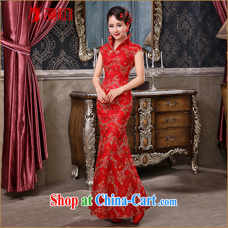 Early definition marriage red long, large, for the hard-pressed Chinese improved cheongsam retro lace bridal toast serving red XXL