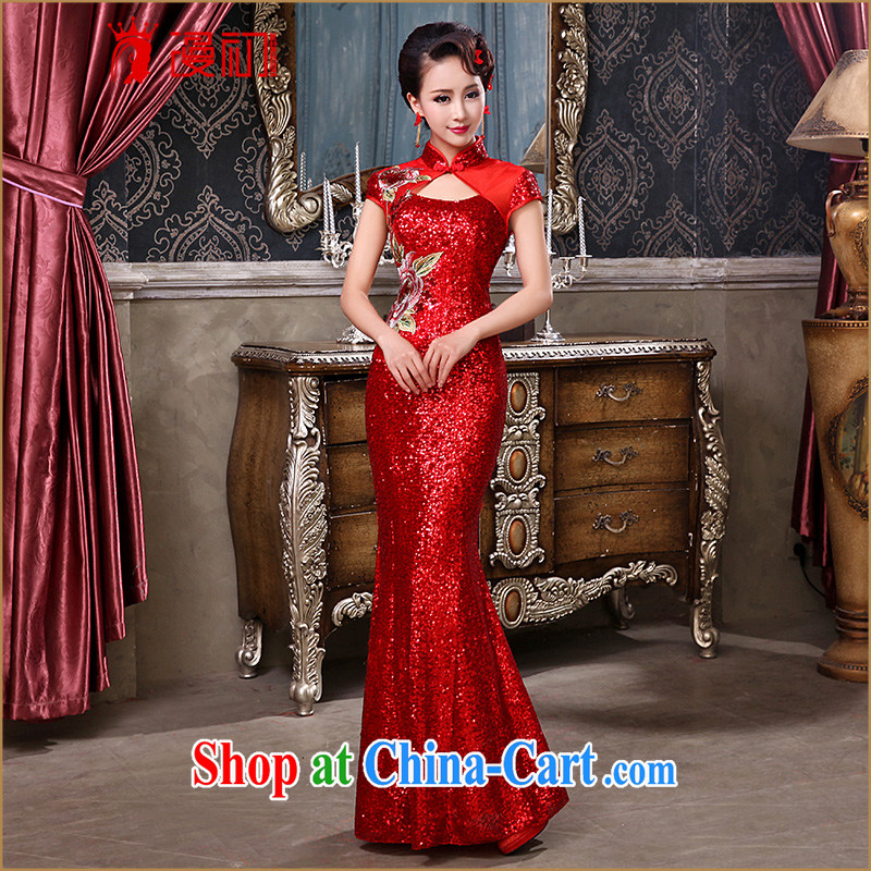 Definition 2015 early winter long robes new Chinese Antique, lace crowsfoot dresses bridal red toast serving late red XXL