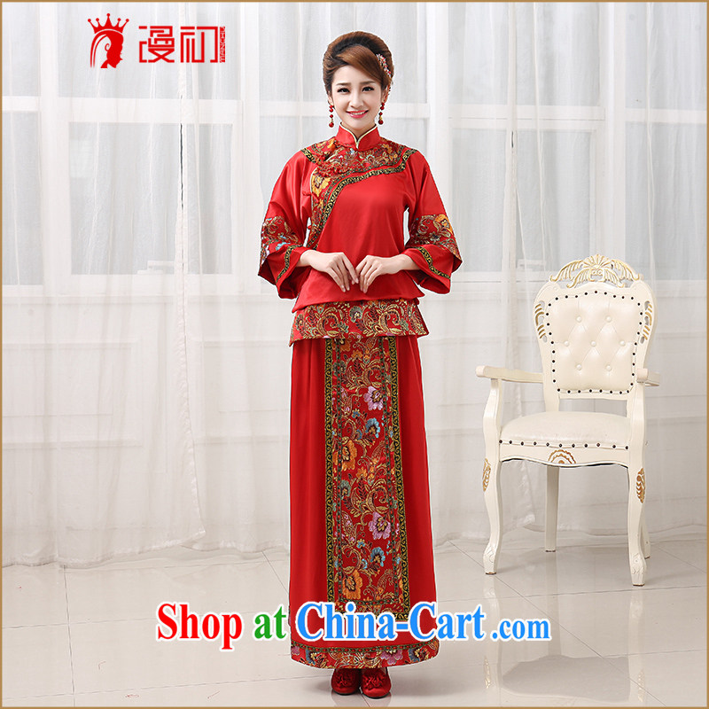 Early definition Sau Wo service 2015 new bridal gown Chinese long-sleeved dresses use phoenix retro wedding toast serving red XXL code