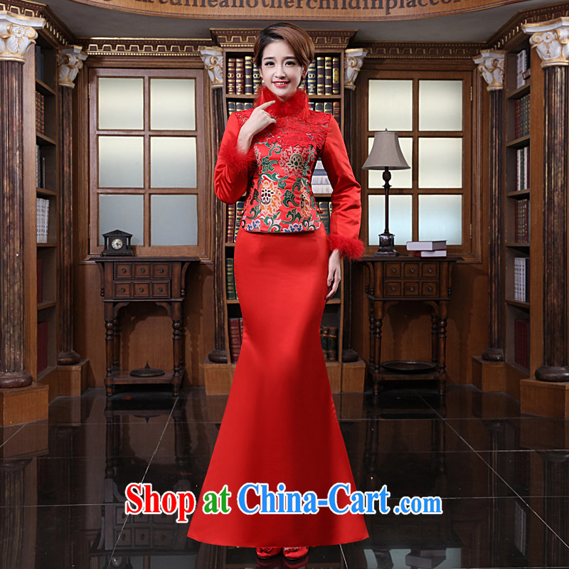 Early definition 2015 new bridal dresses toast clothing stylish retro long red wedding dresses bridesmaid clothing red XXL