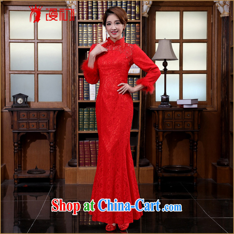 Early definition 2015 new dresses bridal wedding lace dresses retro dresses bridal dresses serving toast long cheongsam red XXL