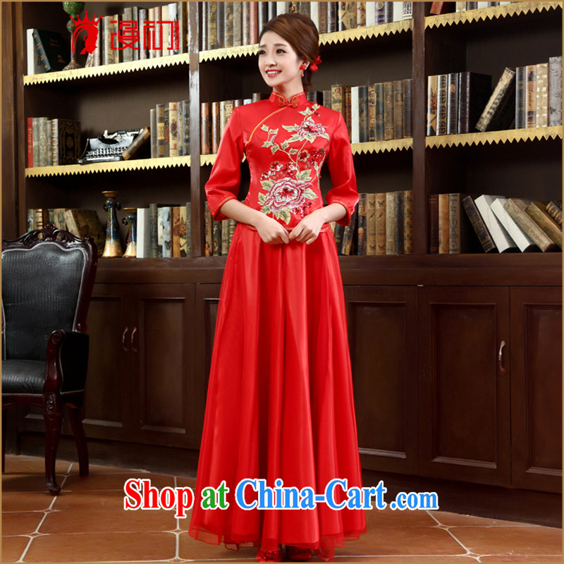 Early definition 2015 new dresses 7 cuff red improved fashion cheongsam long bows Service Package outfit red XXL