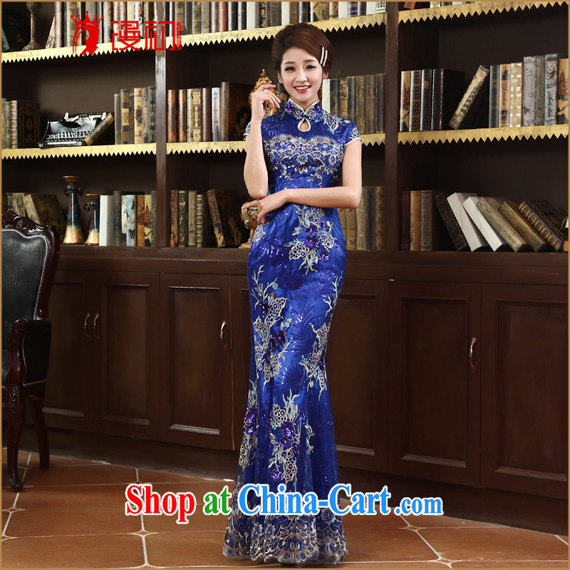 Definition 2015 early New lace cheongsam stylish improved cheongsam marriages served toast long robes dark blue XXL