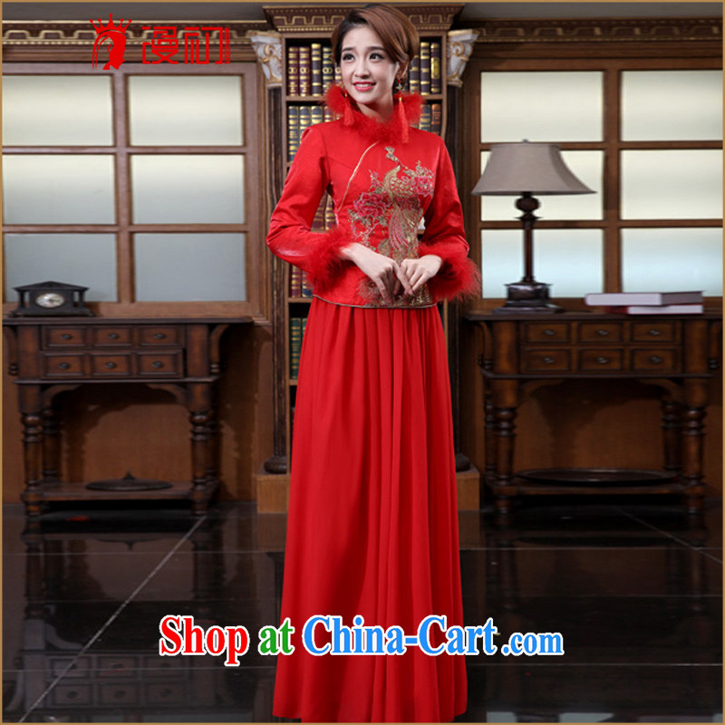 Definition 2015 early New cheongsam stylish improved red outfit retro toast serving marriages long package outfit, winter cheongsam XXL