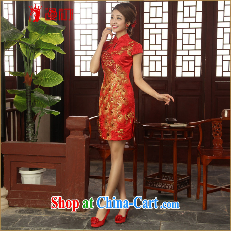Early definition 2015 new marriages improved qipao cheongsam stylish short red bows clothes cheongsam red XXL