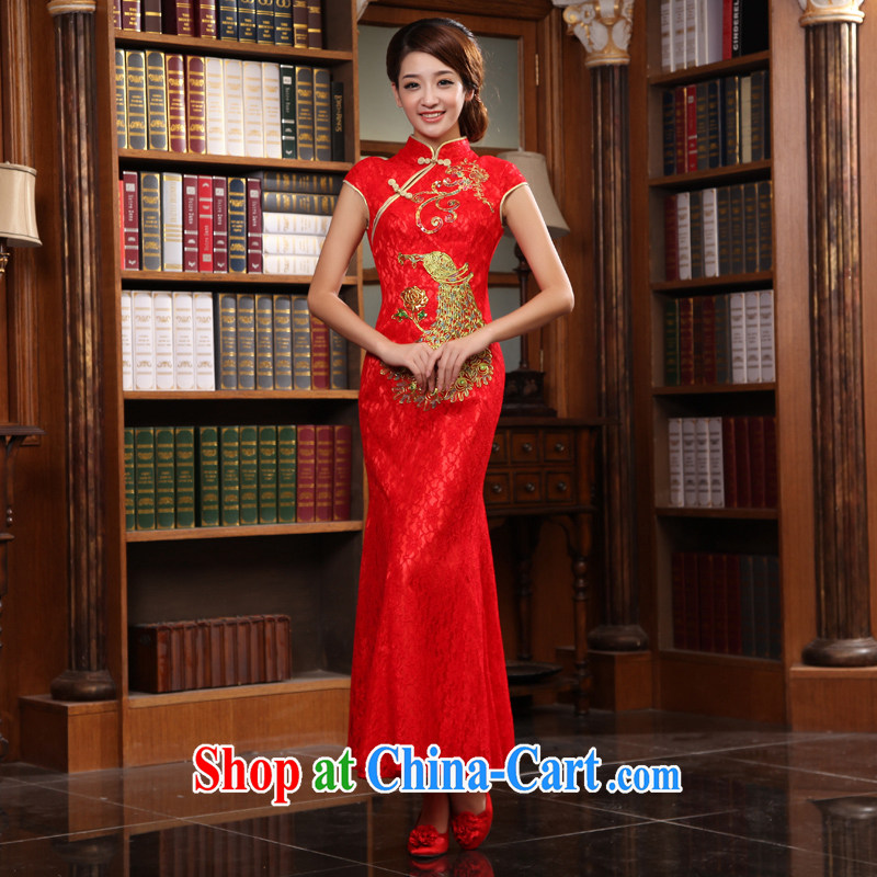 Animated bride early 2015 new bridal dresses bows clothes Stylish retro long red wedding dresses red XXL
