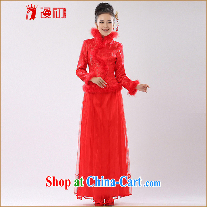 Early definition 2015 new stylish improved winter clothing cheongsam dress bridal dresses serving toast red bridesmaid dress red XXL
