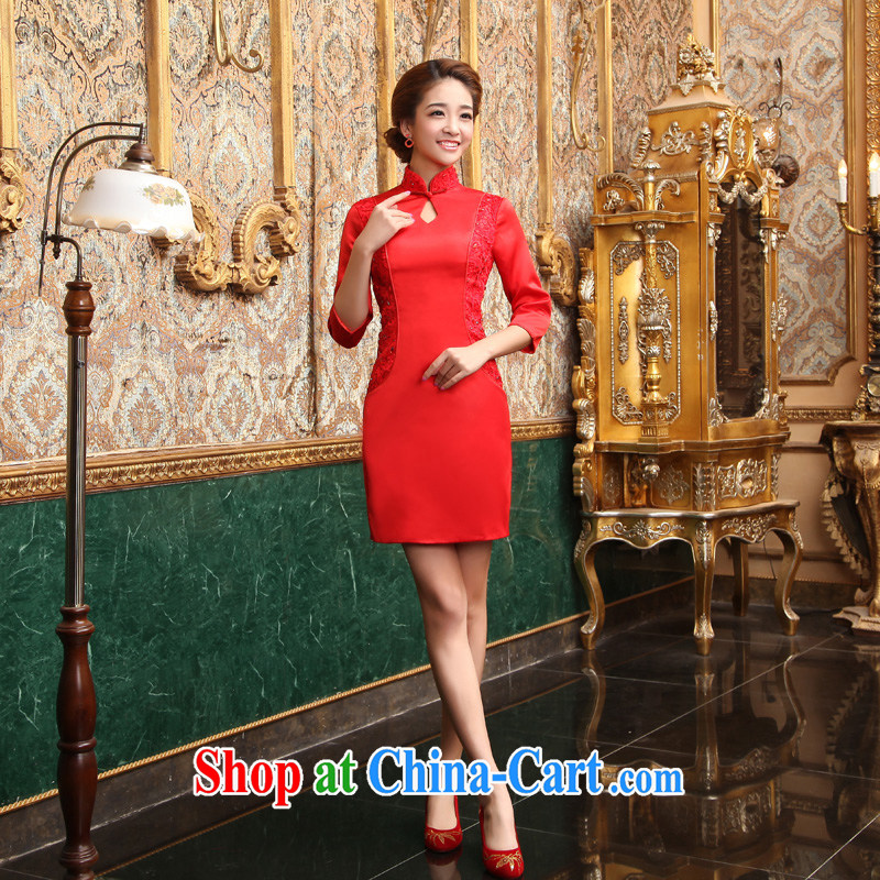 Early definition marriage improved stylish bows clothes 2015 New Red cheongsam dress fall and winter brides small dress retro short cheongsam red XXL