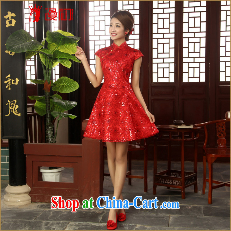 Definition 2015 early New lace, short dresses bridal improved bows red lace beauty red outfit XXL