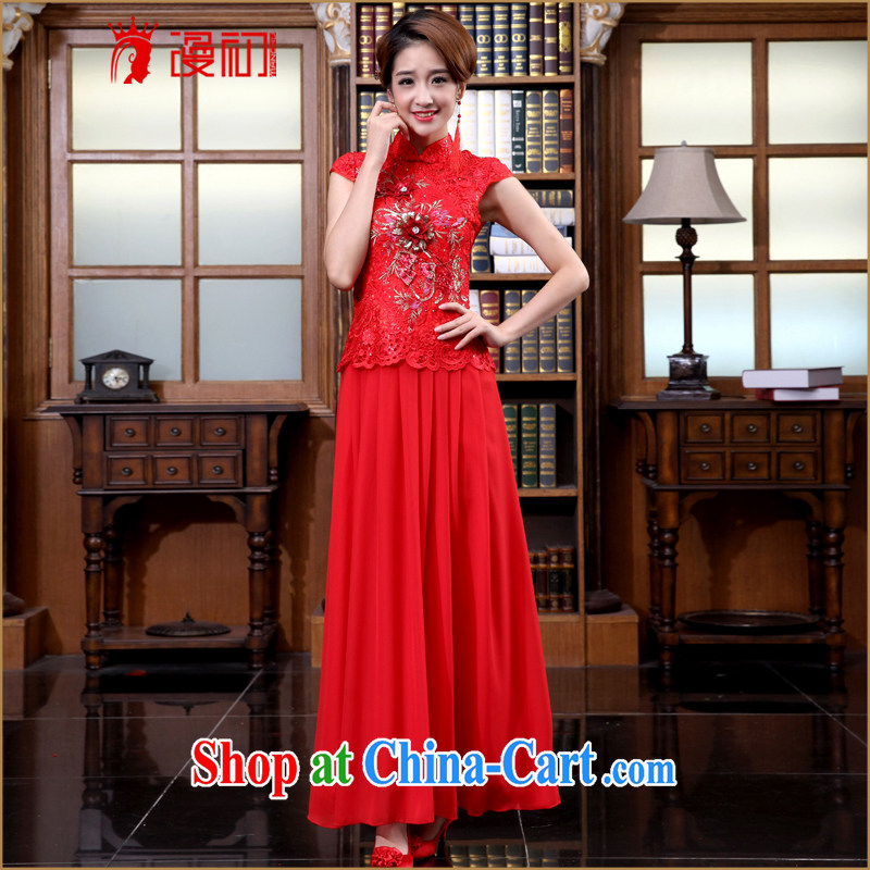 Diffuse early marriages served toast spring 2015 New red retro dresses Package/snow woven dress/evening dress red XXL
