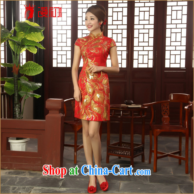 Definition 2015 early New cheongsam Chinese improved red short cheongsam marriages served toast cheongsam dress red XXL