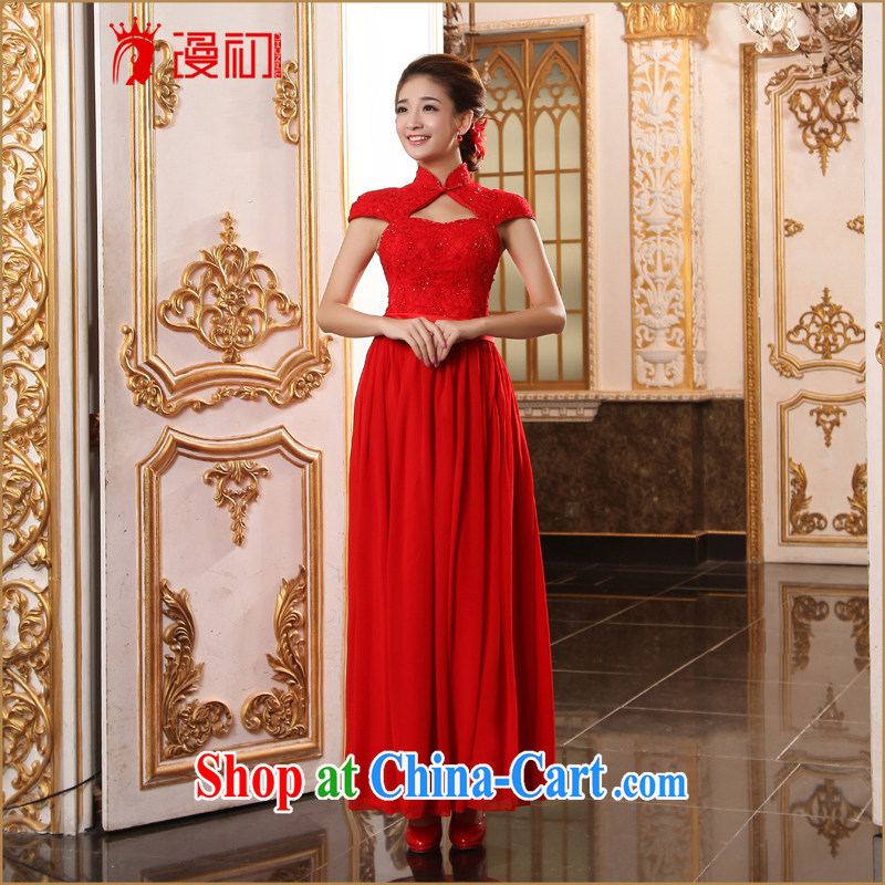Early definition 2015 new marriage improved stylish dresses red bridal toast clothing dress lace long cheongsam red XXL