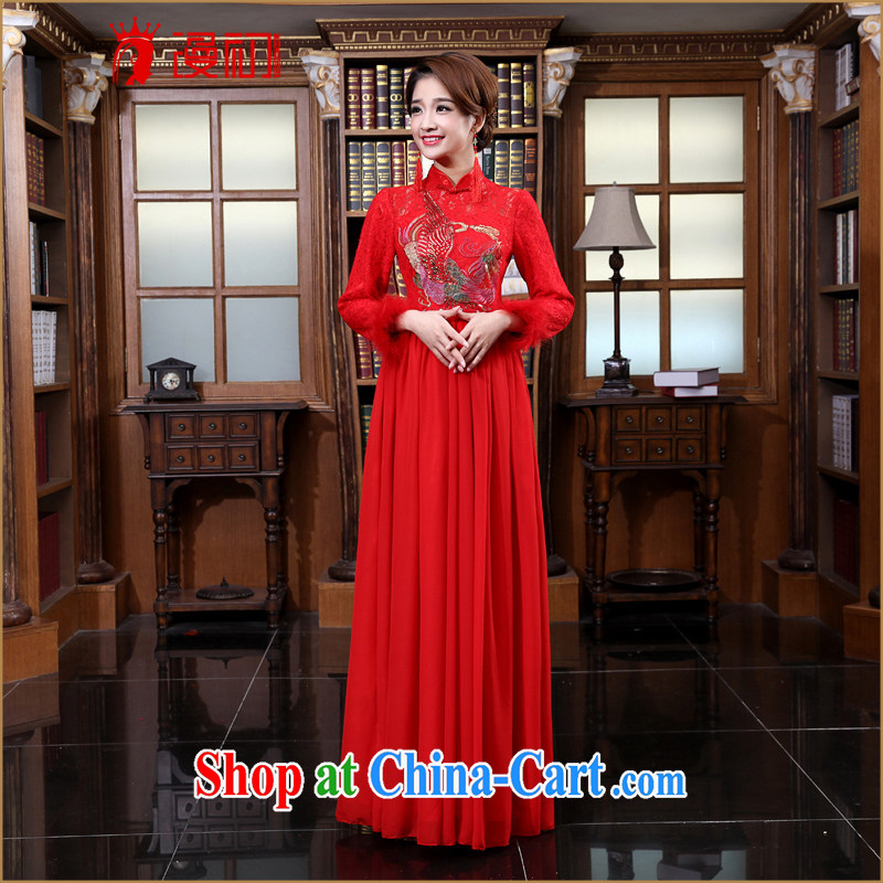 New 2015 spring long cheongsam red long-sleeved improved bridal dresses spring and summer wedding retro toast serving red XXL