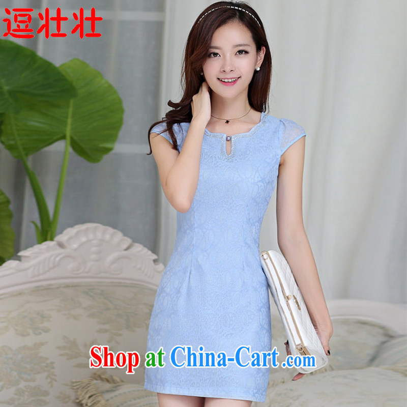 and Chuang Chuang autumn 2015, cotton, embroidery collar outfit #6594 blue XXL .