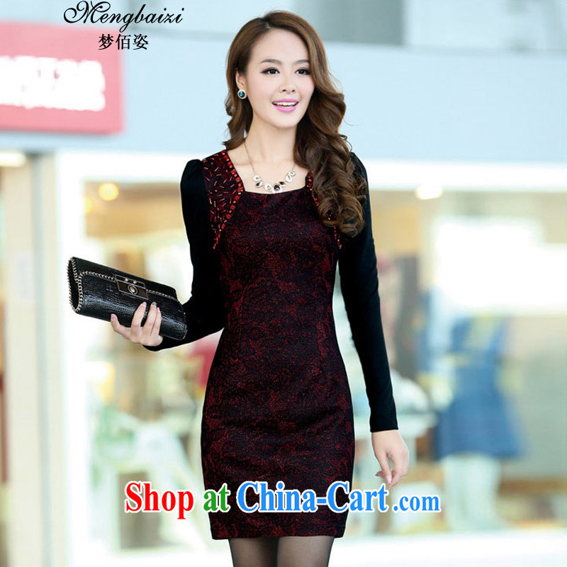 Let Bai beauty 2015 new sleek style beauty long-sleeved qipao dresses QP 904 #red XXL