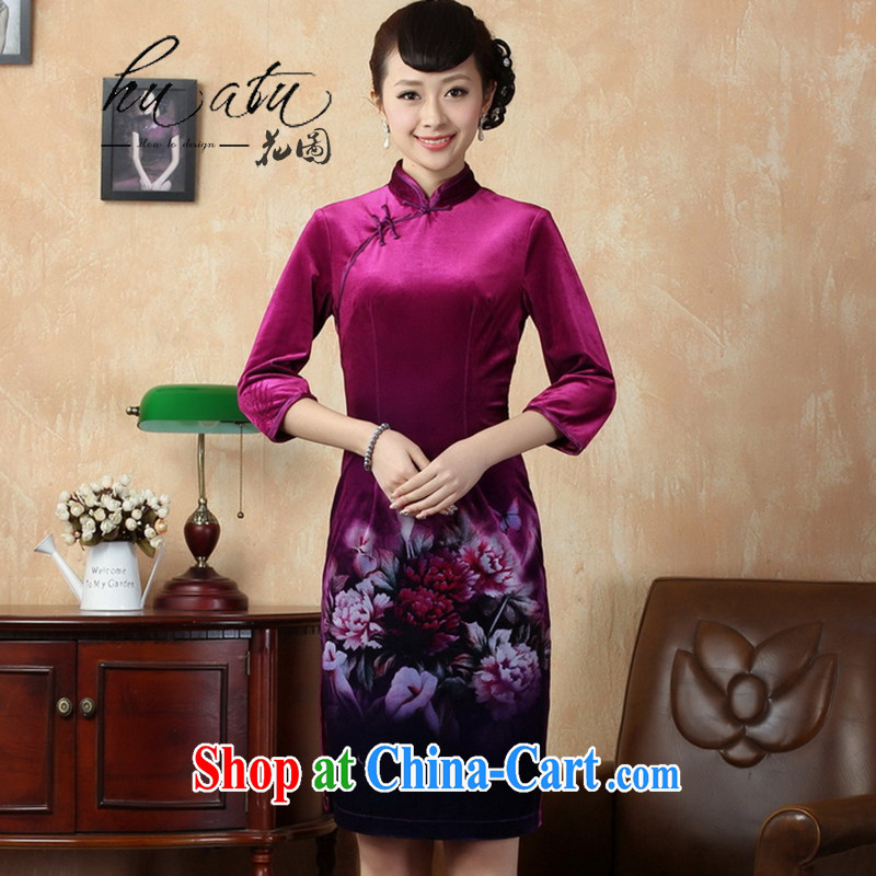 Take the autumn new cheongsam dress tang on the collar stretch gold velour painting stylish classic cuff in improved short cheongsam 6 2 XL
