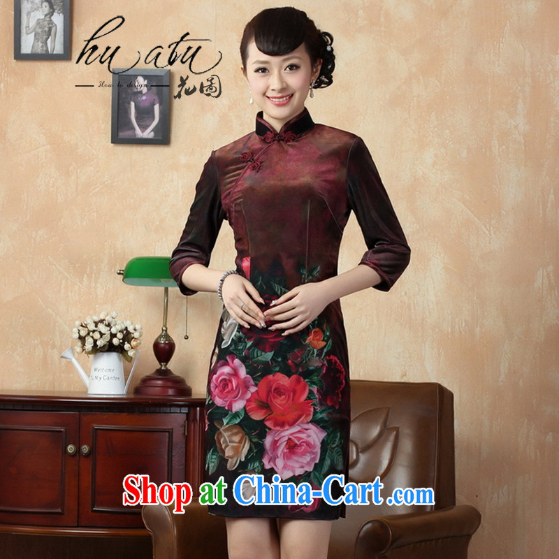 Take the fall with new dresses Tang Women's clothes, collar stretch the wool poster retro classic improved in short sleeves cheongsam 12 XL