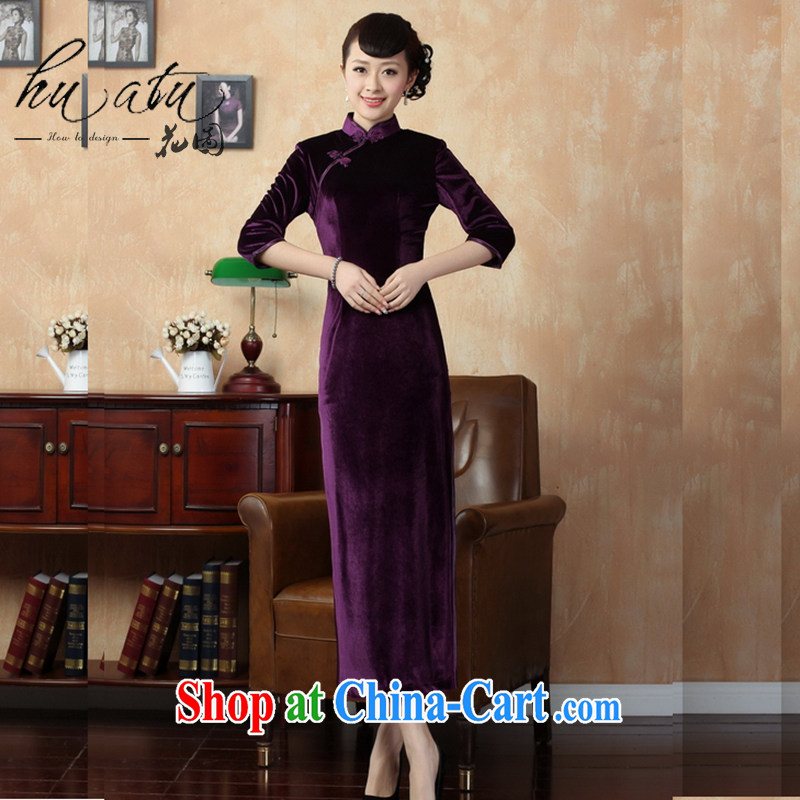 Spend the autumn and the New Tang Women's clothes cheongsam plain color-stretch the wool long cheongsam 7 cuff T 0001 - B XL 3